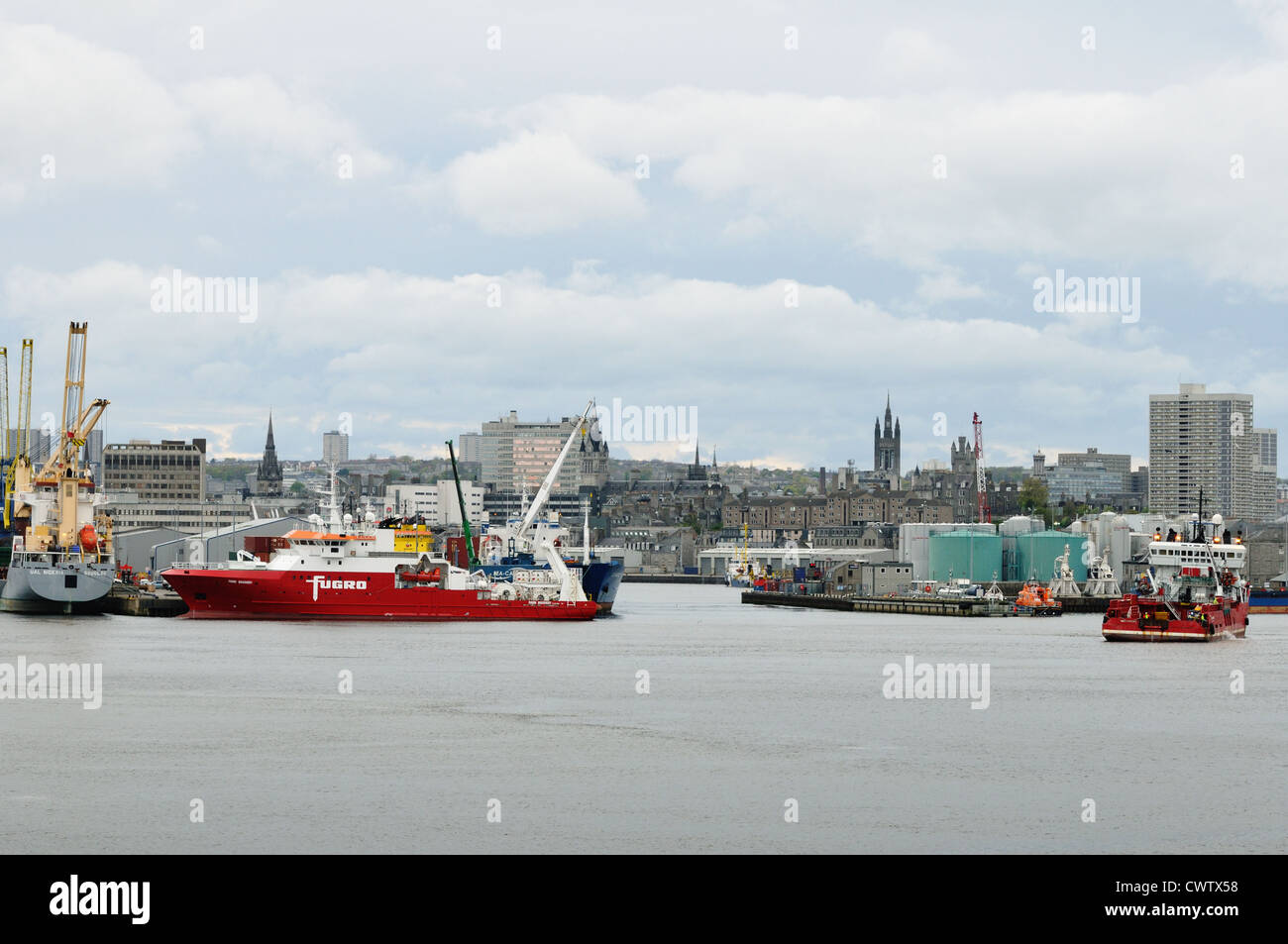 The Fugro Discovery, multi role Geophysical and Hydrographical survey vessel, in Aberdeen harbour - Stock Image