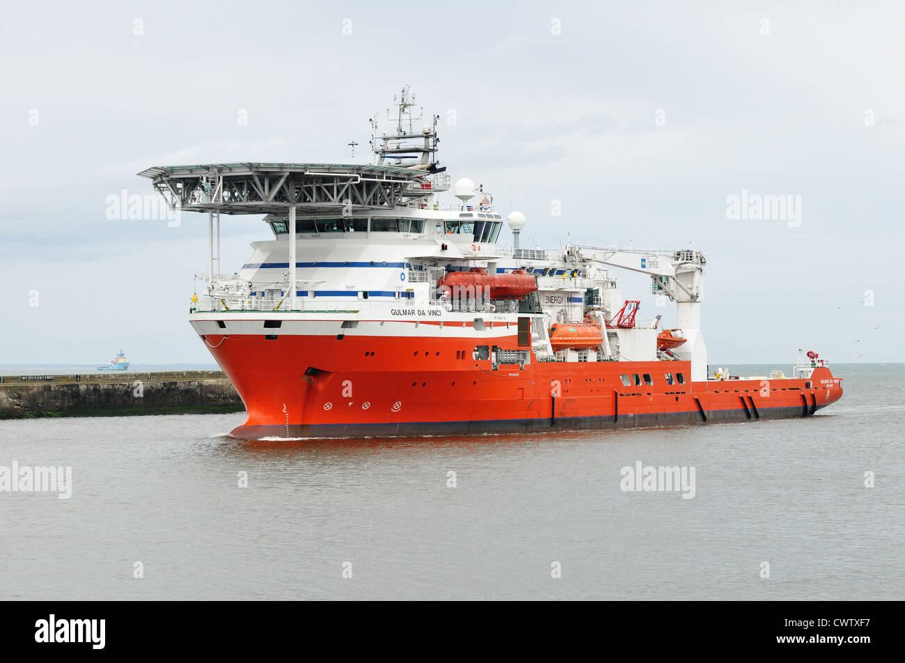 The Gulmar Da Vinci, diving support vessel, entering Aberdeen harbour 2012 Stock Photo