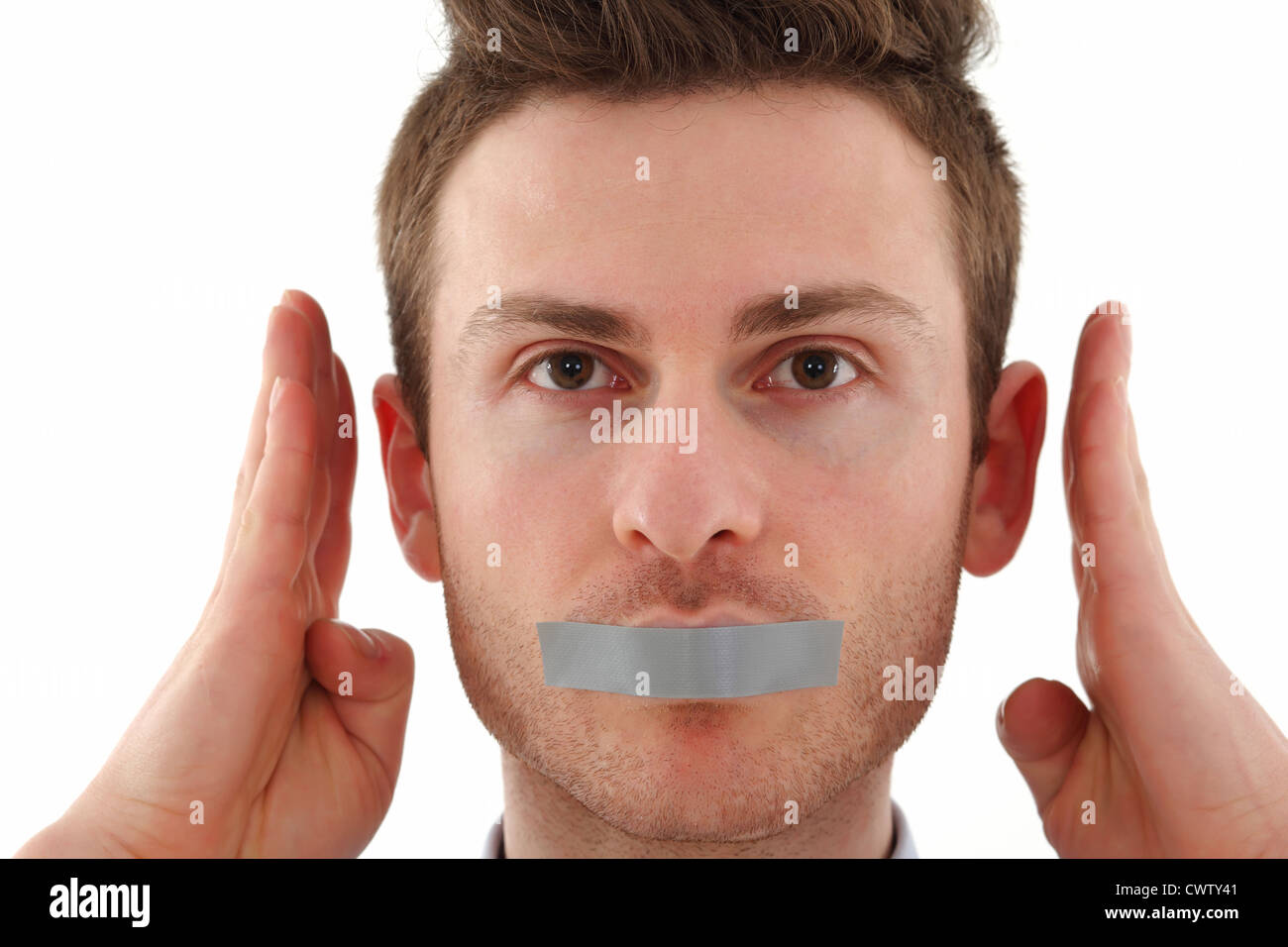 Young Russian man censored with tape - Stock Image