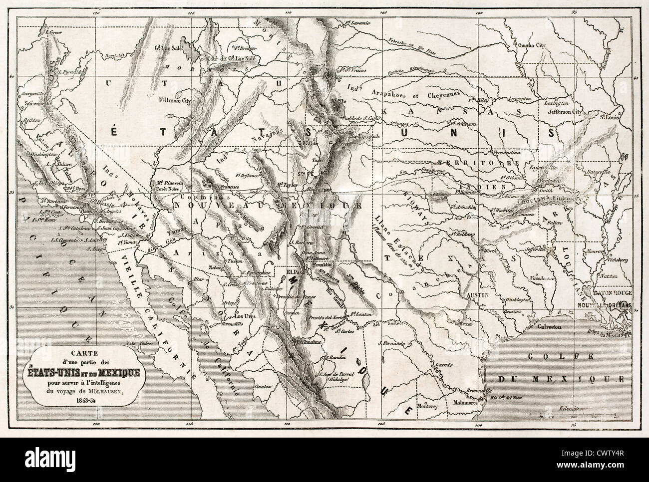 old map of northern mexico and south western usa stock image