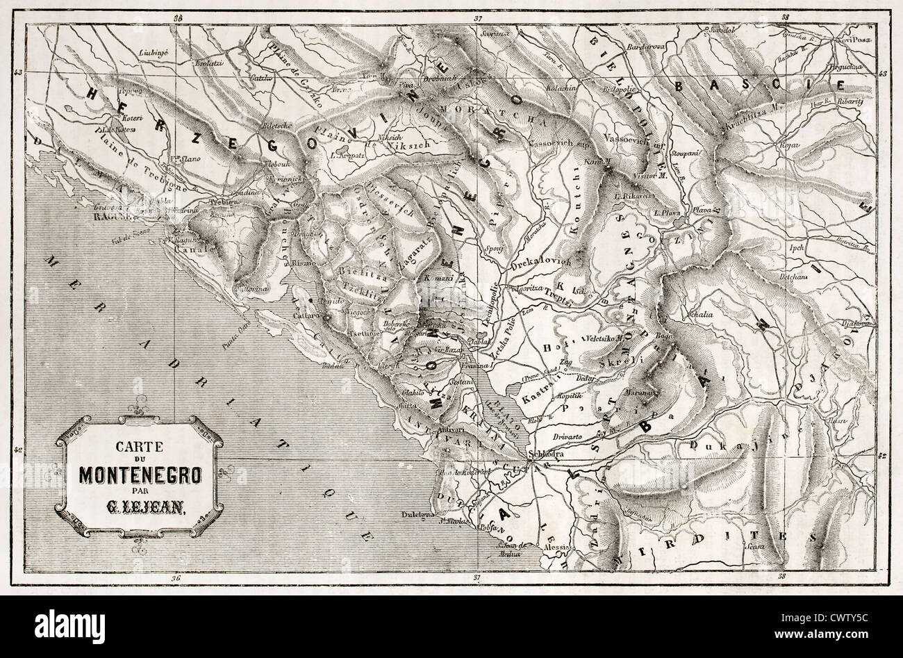 Old map of Montenegro - Stock Image