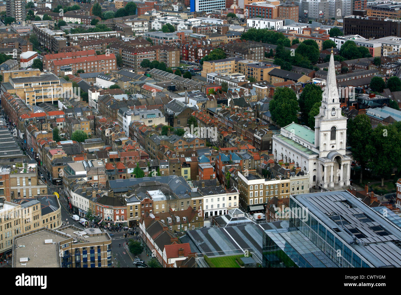 Elevated view looking down on to Christ Church, Spitalfields, London, UK Stock Photo