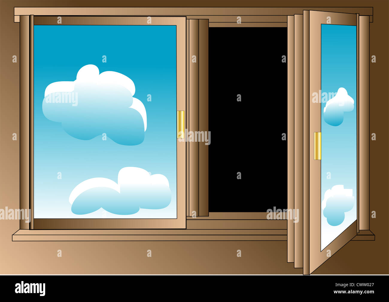 Pessimist's window with blue sky on the glass and darkness outside - Stock Image