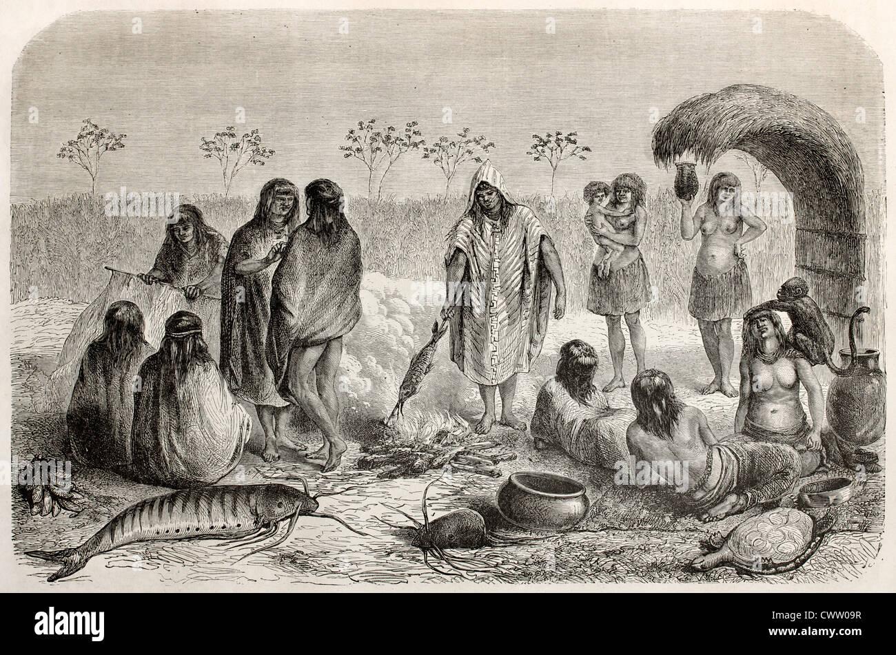 Chontaquiros Peruvian natives fishermen - Stock Image