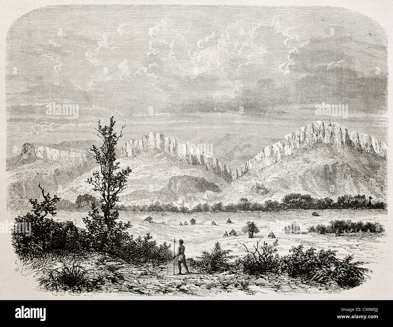 Old illustration of Outhoungu valley, southern Sudan - Stock Image
