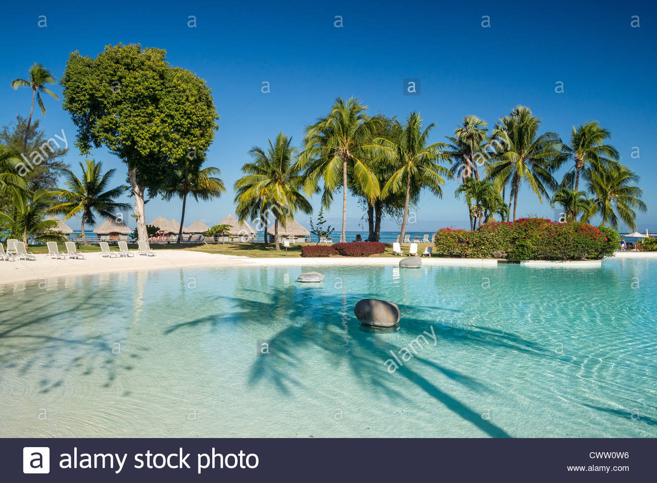 Le Méridien Tahiti hotel - the sand bottom swimming Stock Photo