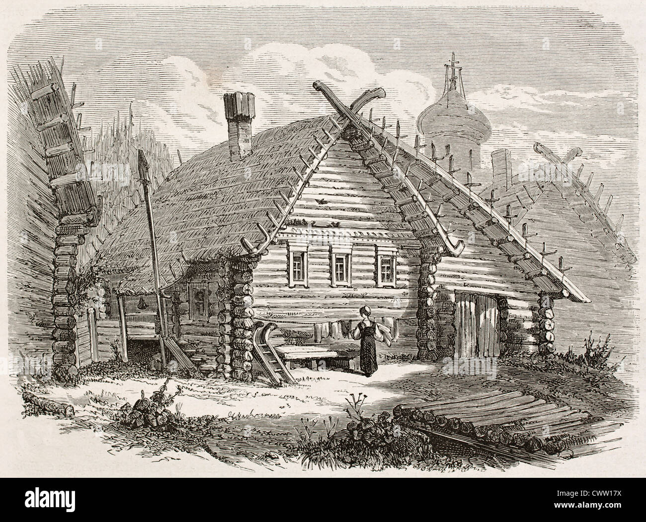 Elpativo old view, Russian village - Stock Image