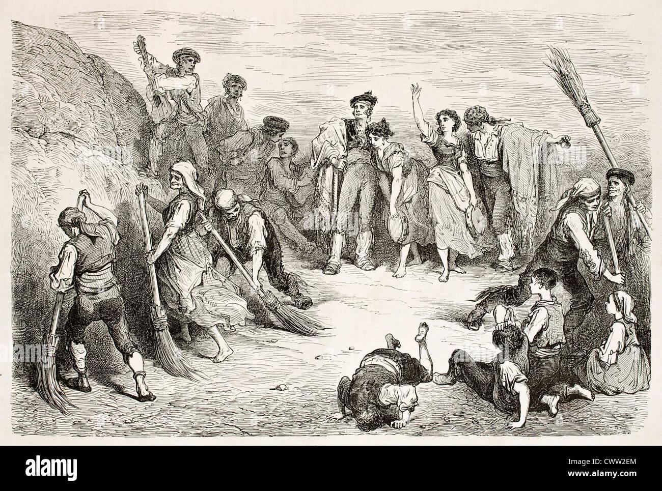 Seguidilla dancers old illustration. Created by Gustave Dore, published on Le Tour Du Monde, Paris, 1867 Stock Photo