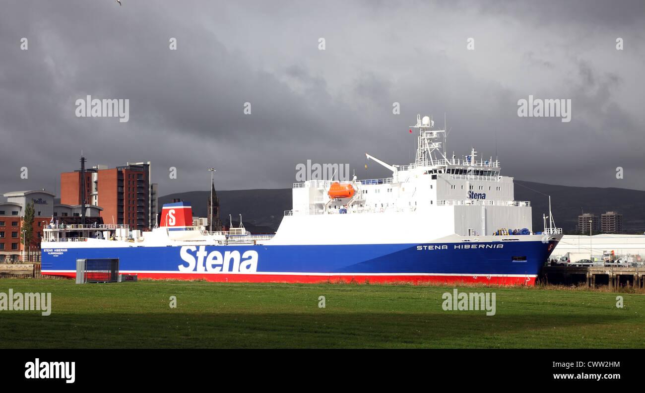 Stena Hibernia, Irish Sea Ro-ro cargo ferry, Belfast Docks, Northern Ireland, UK - Stock Image