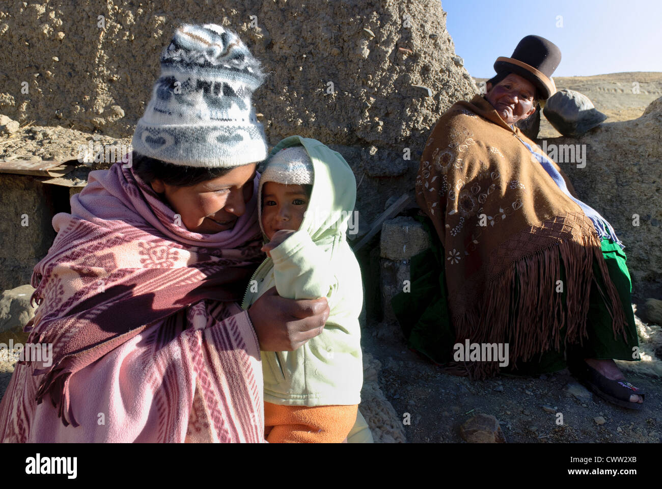 Family in the Cordillera of the Andes, Bolivia - Stock Image