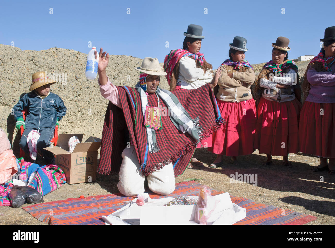 Offering to the Pachamama in The Cordillera Real, Bolivia - Stock Image