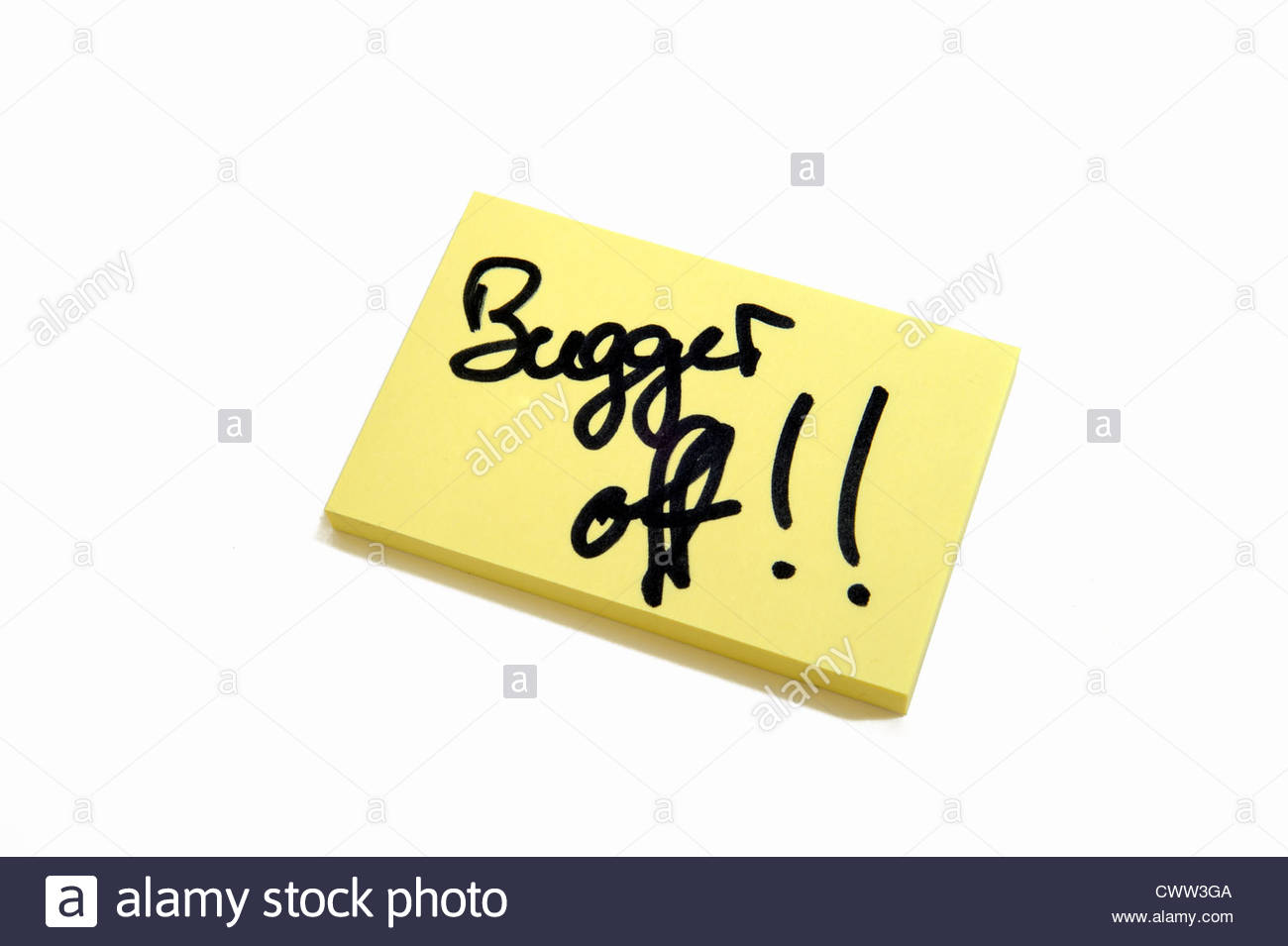 Post it note  Bugger off!! Private. - Stock Image