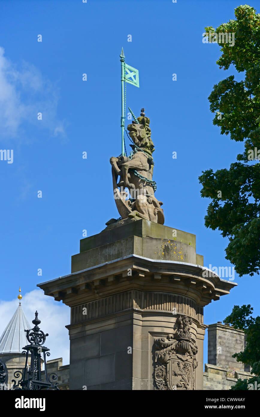 Detail of gatepost with unicorn. Holyrood Palace, Royal Mile, Edinburgh, Mid Lothian, Scotland, United Kingdom, - Stock Image