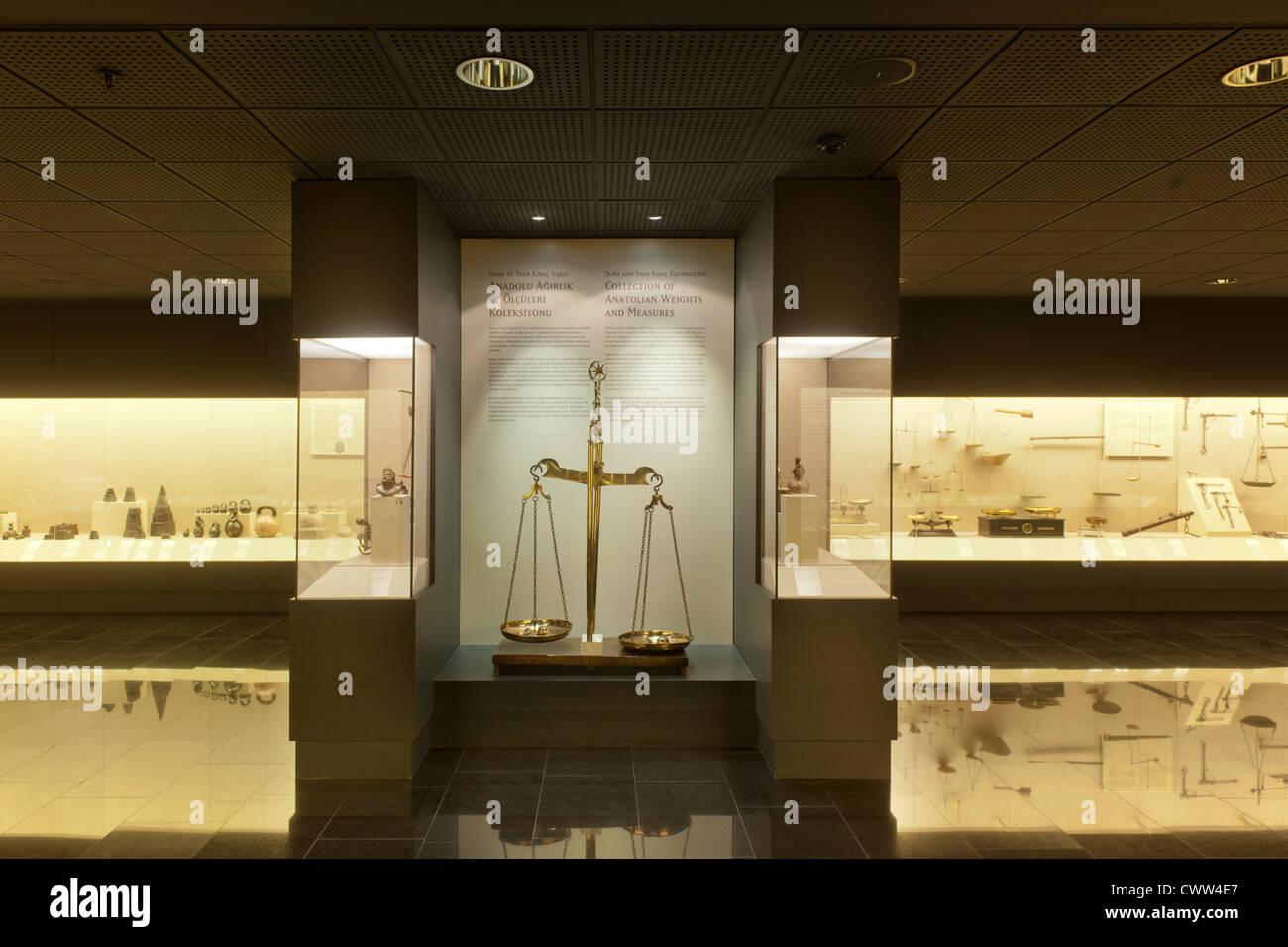 Türkei, Istanbul, Beyoglu, Tepabasi, das Pera-Museum ist ein Kunstmuseum. Austellung Masse und Gewichte. - Stock Image