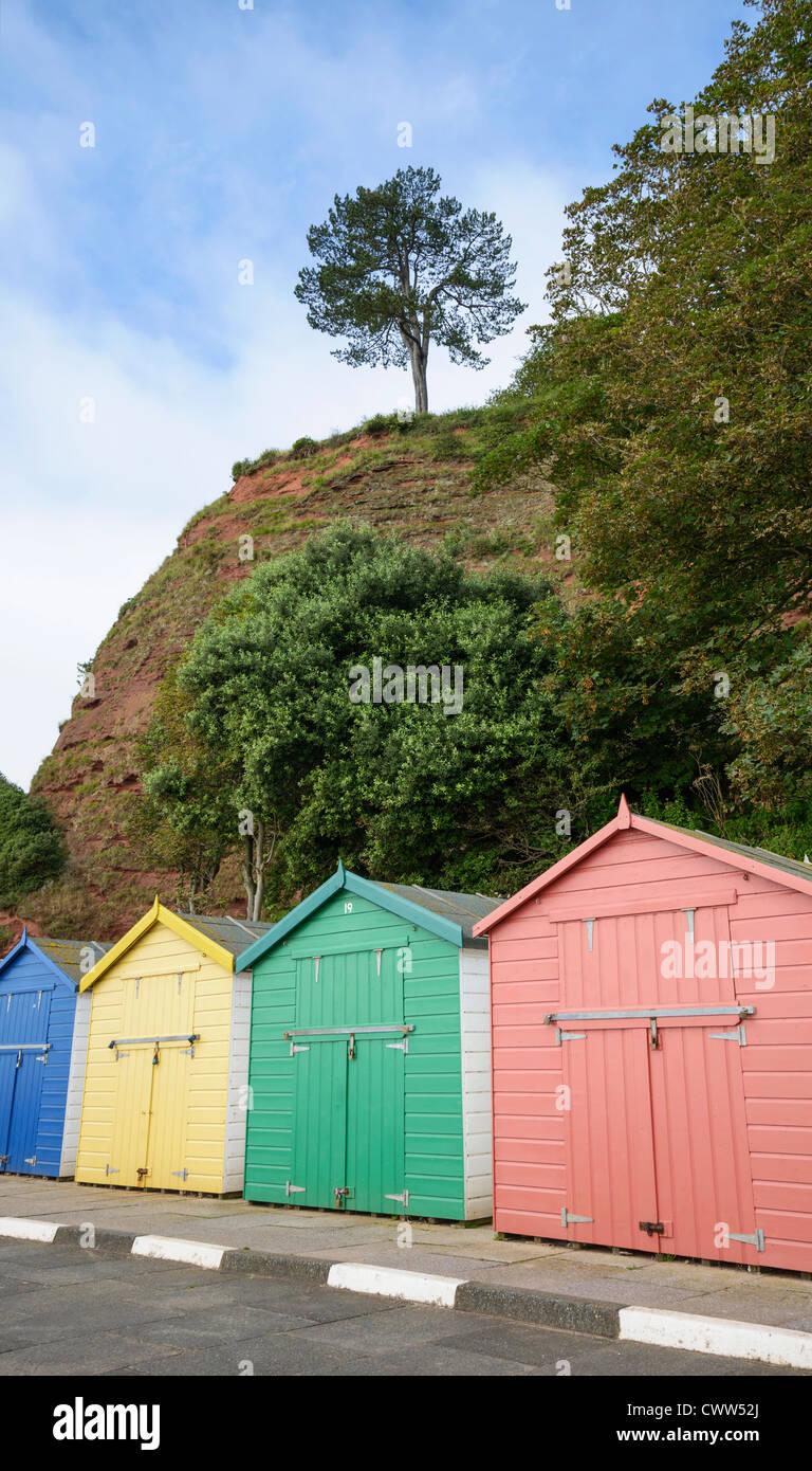 beach huts by  Coryton's Cove Dawlish Devon England UK - Stock Image