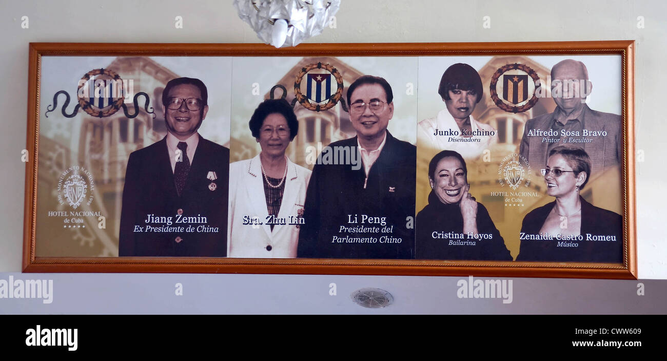 Photographs of the famous residents and visitors hanging in Hollywood bar at Nacional de Cuba hotel, Havana, Cuba - Stock Image