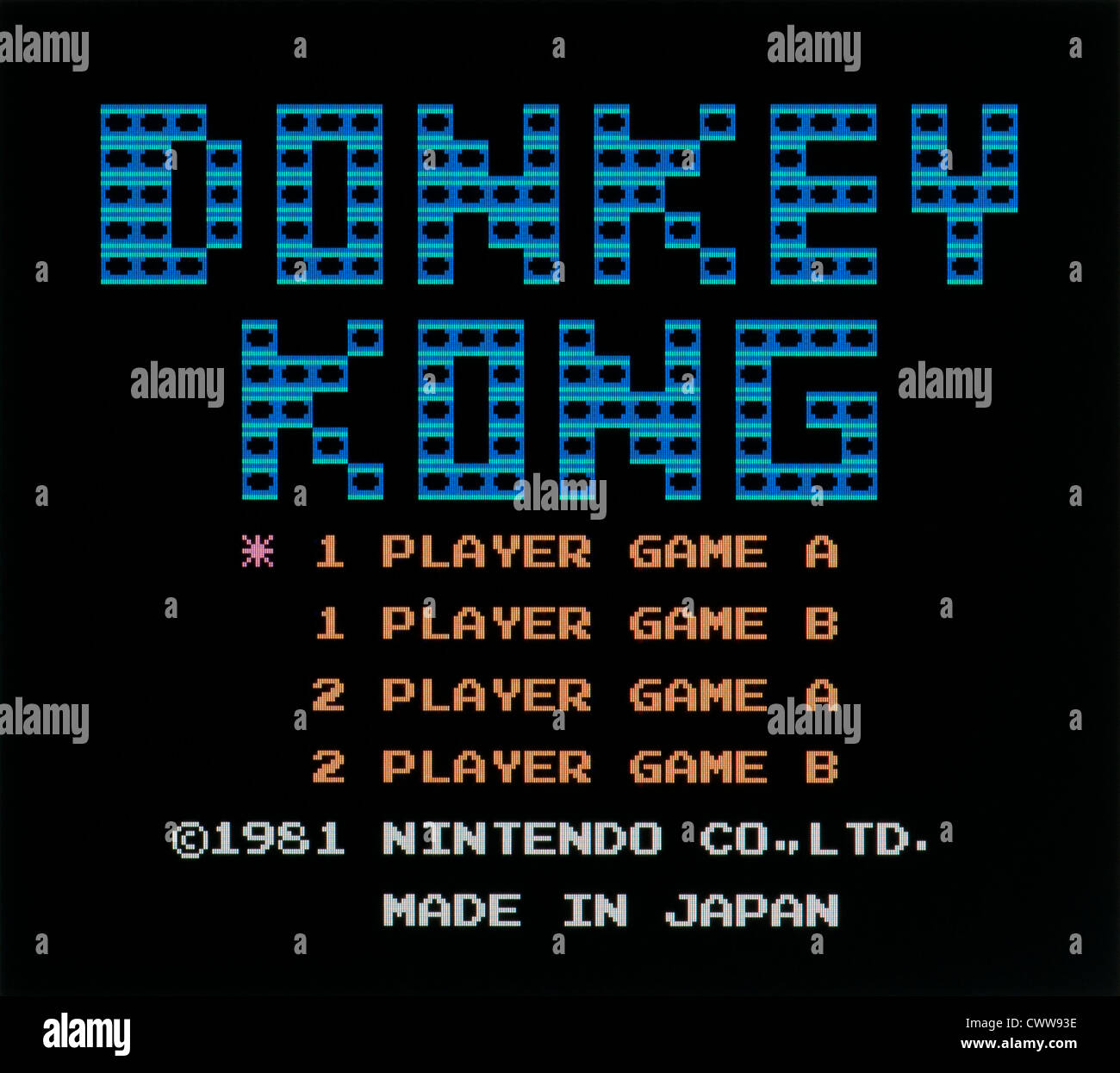 Donkey Kong Title screen,  arcade video game released on 1981 - Stock Image