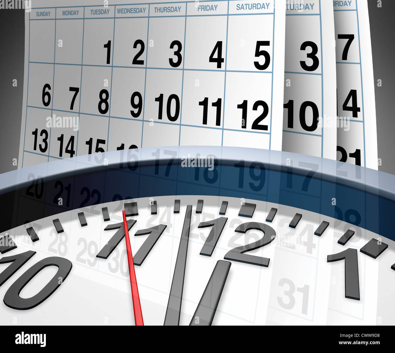 Deadlines and schedules of events and important dates represented by a calendar and a clock showing the concept - Stock Image