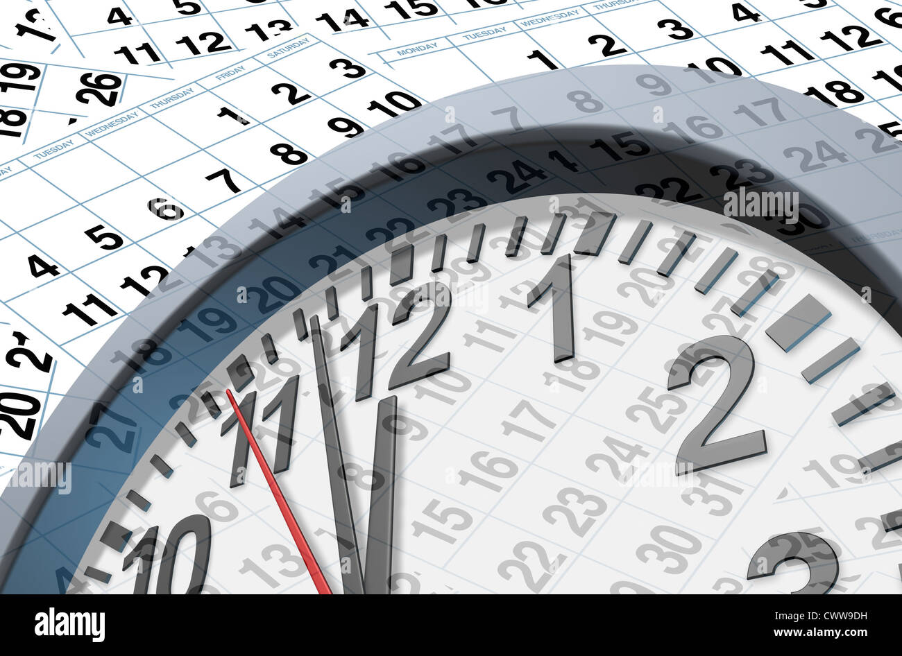 Deadlines and time symbol with calendar pages representing time and important dates in a month or days of the week. - Stock Image