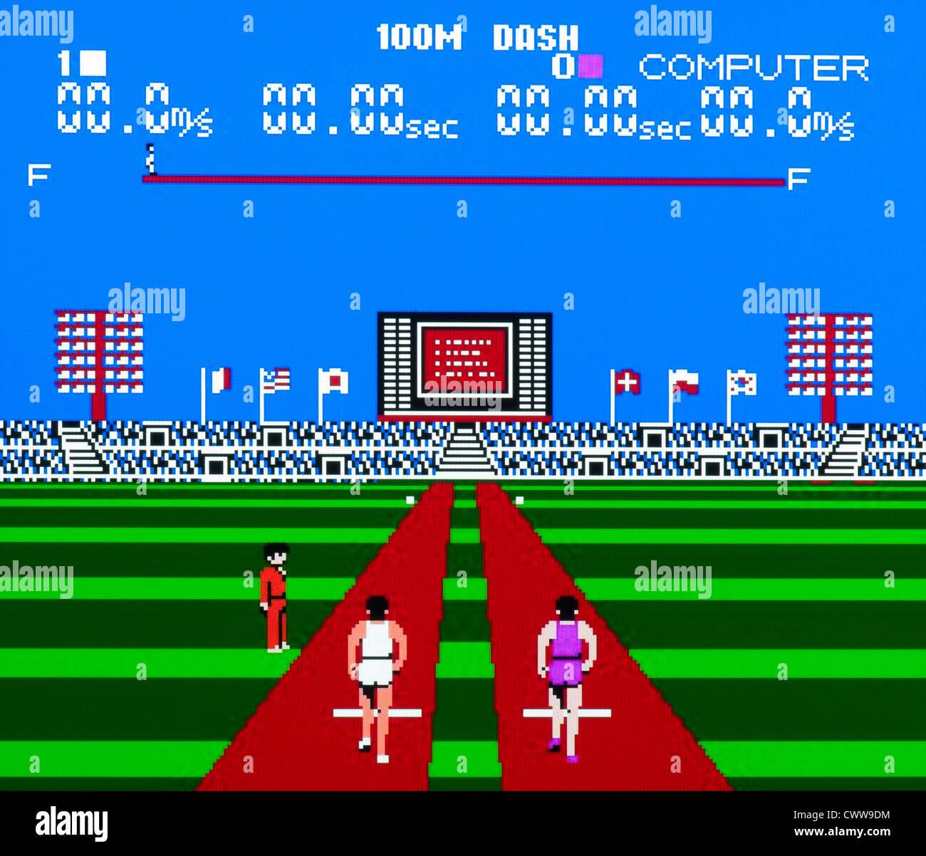Super Mario Bros video game - Track Meet 100m Dash - Stock Image