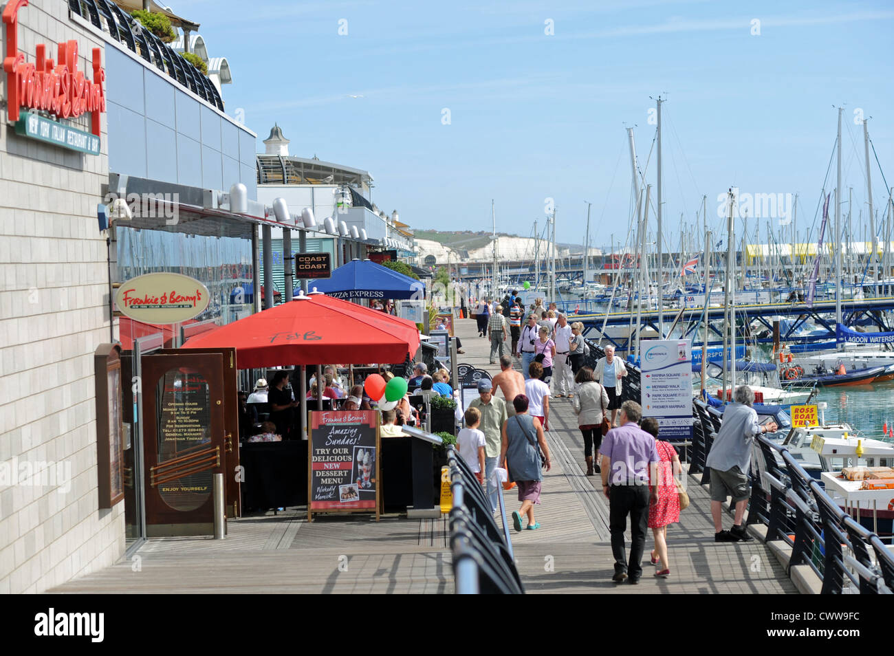 The Boardwalk with its restaurants and cafes at Brighton Marina East Sussex UK September 2012 - Stock Image