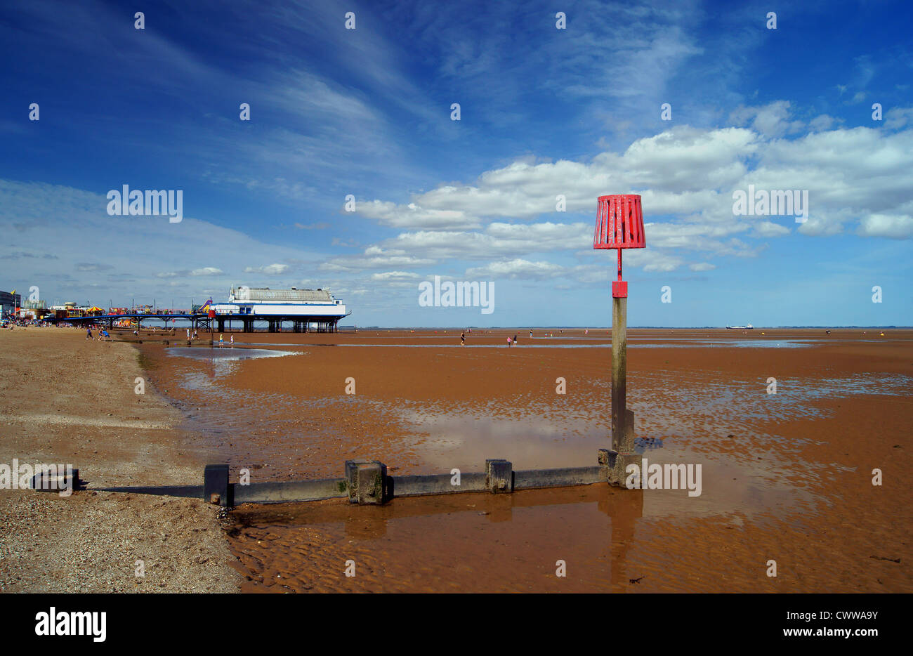 UK,Lincolnshire,Cleethorpes,Pier,Beach & Groynes at Low Tide - Stock Image