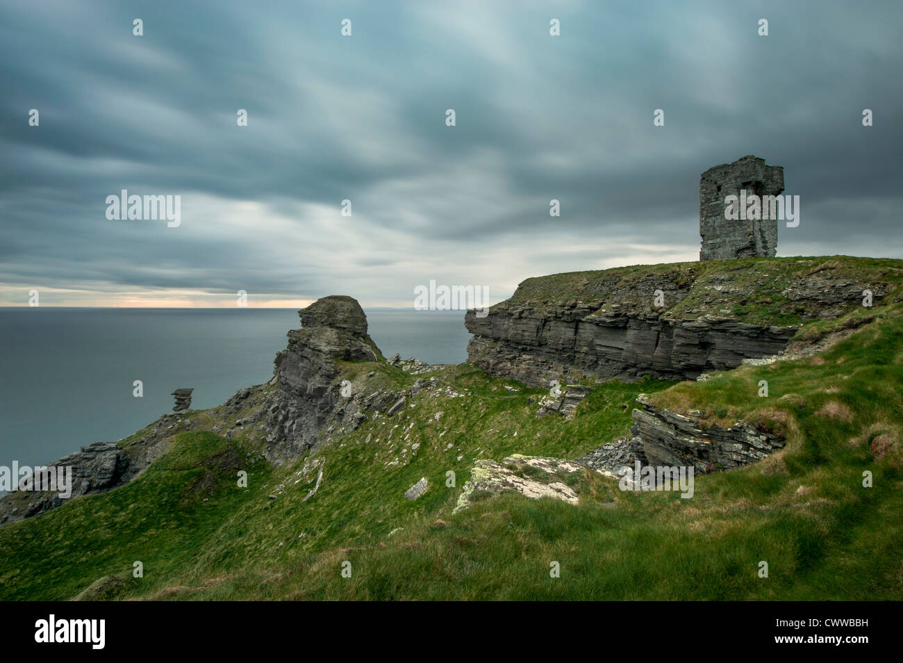 Stone ruins on rural cliffs - Stock Image