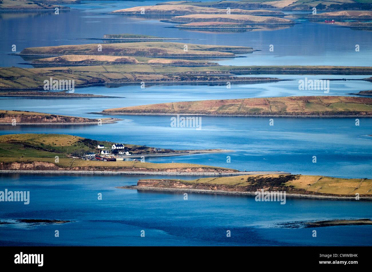 Aerial view of houses in rural marsh - Stock Image