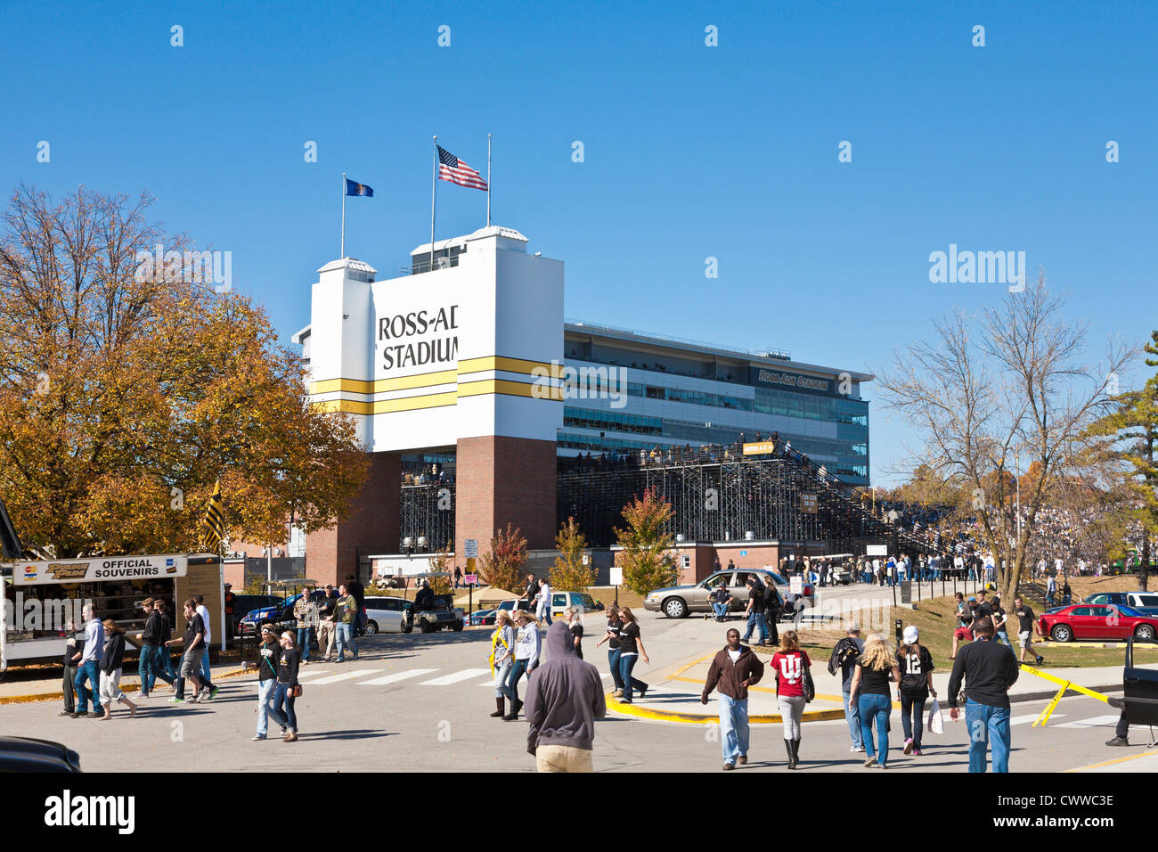 College football fans prepare for a game in Ross-Ade Stadium on the Purdue University campus in West Lafayette, - Stock Image