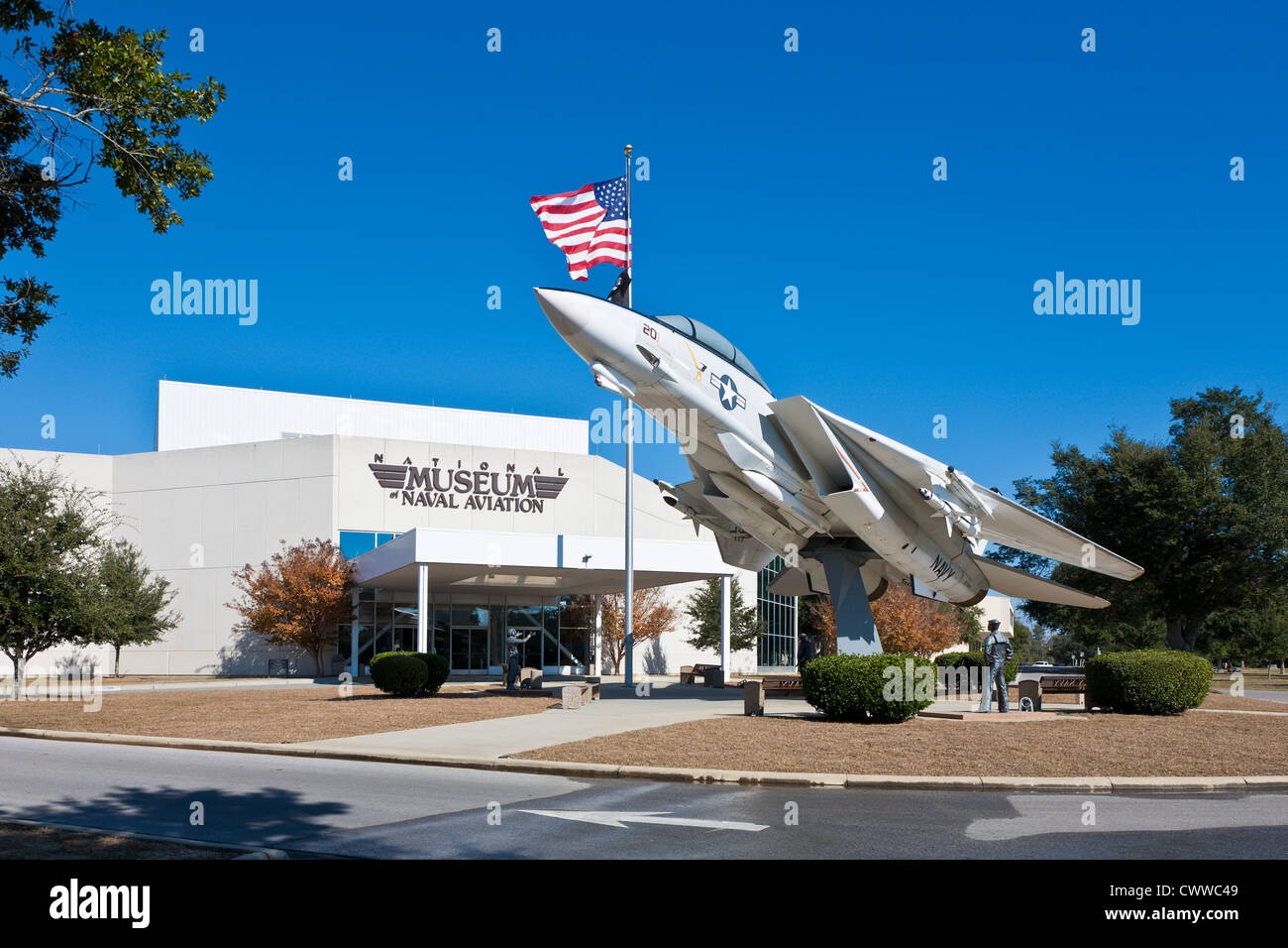 F-14A Tomcat fighter jet in front of the National Museum of Naval Aviation in Pensacola, FL - Stock Image