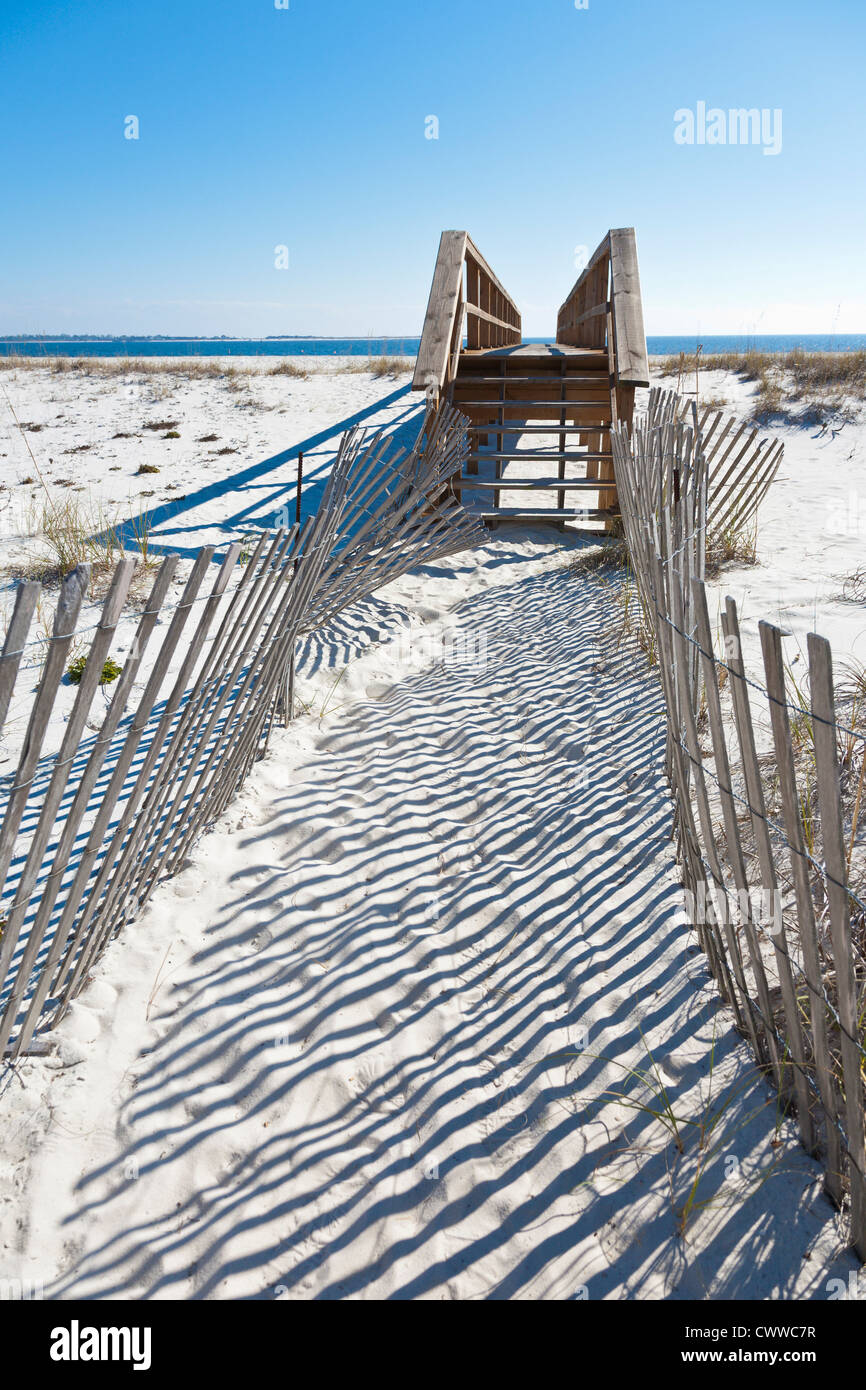 Fenced walkway to dune crossover keeps visitors off sand dunes to help with erosion control - Stock Image