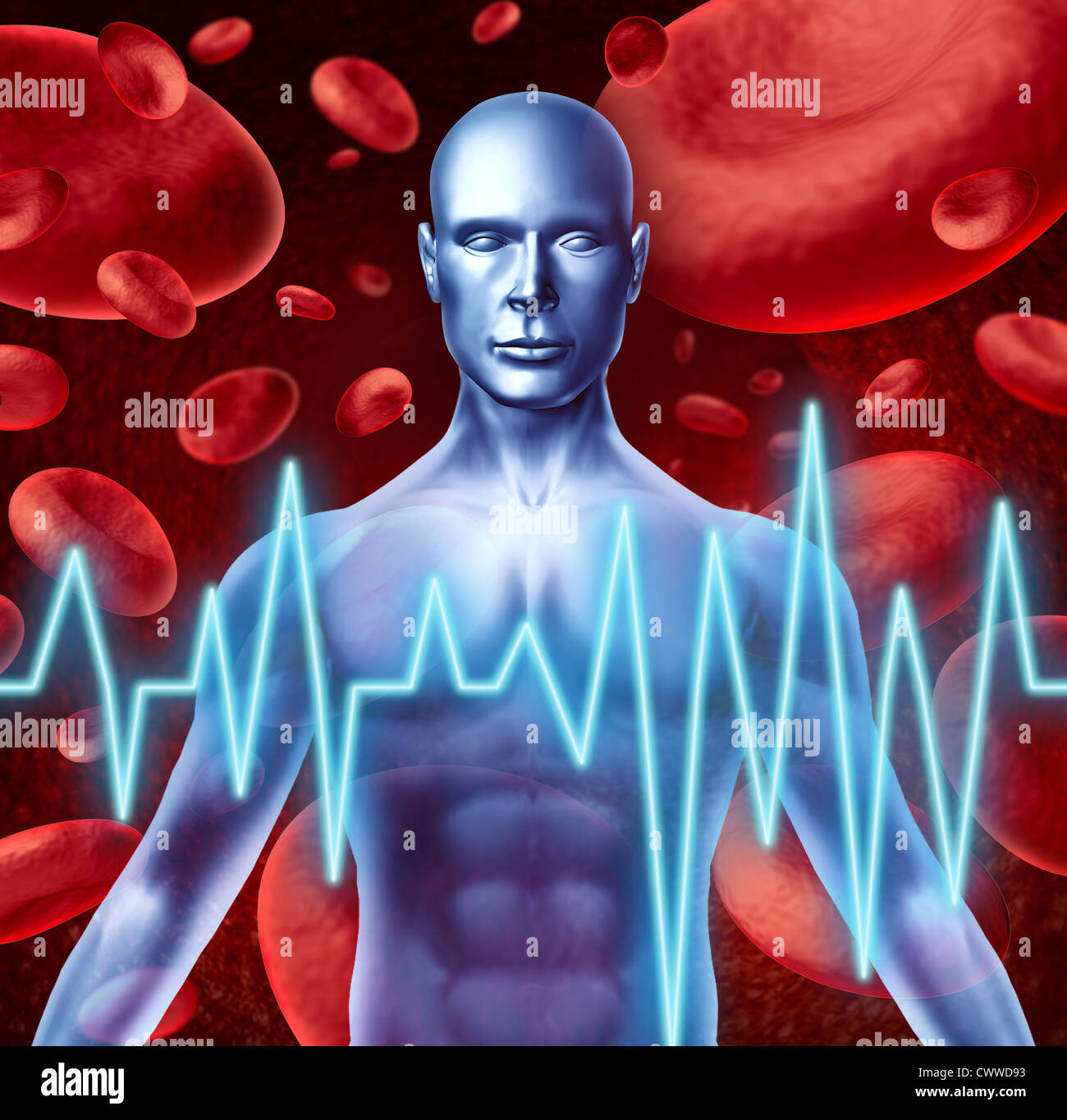 Stroke and heart attack warning signs medical symbol including loss of strenght and numbness trouble speaking and - Stock Image