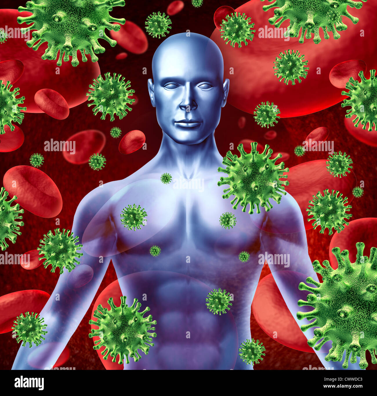 Human disease and infection representing a medical health concept of bacterial virus transfer and spread of infections - Stock Image