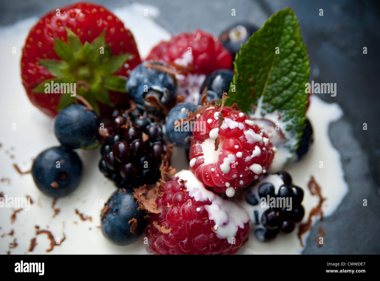 English Summer Fruits Blueberries Raspberries Stock Photos & English