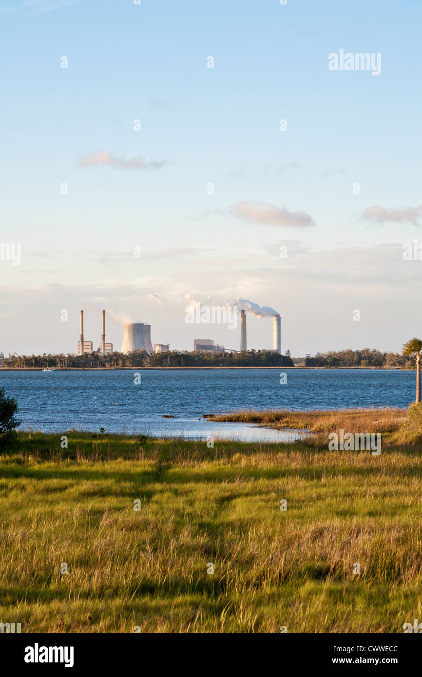 Crystal River Energy Complex with four coal powered and one nuclear powered plants in Crystal River, Florida - Stock Image
