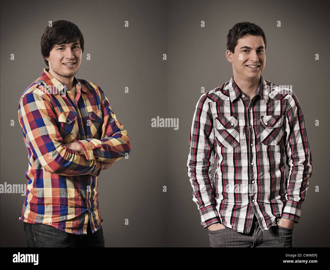 Two smiling men posing for portrait - Stock Image