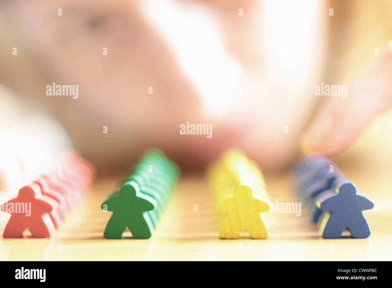 Close up of colorful wooden blocks - Stock Image