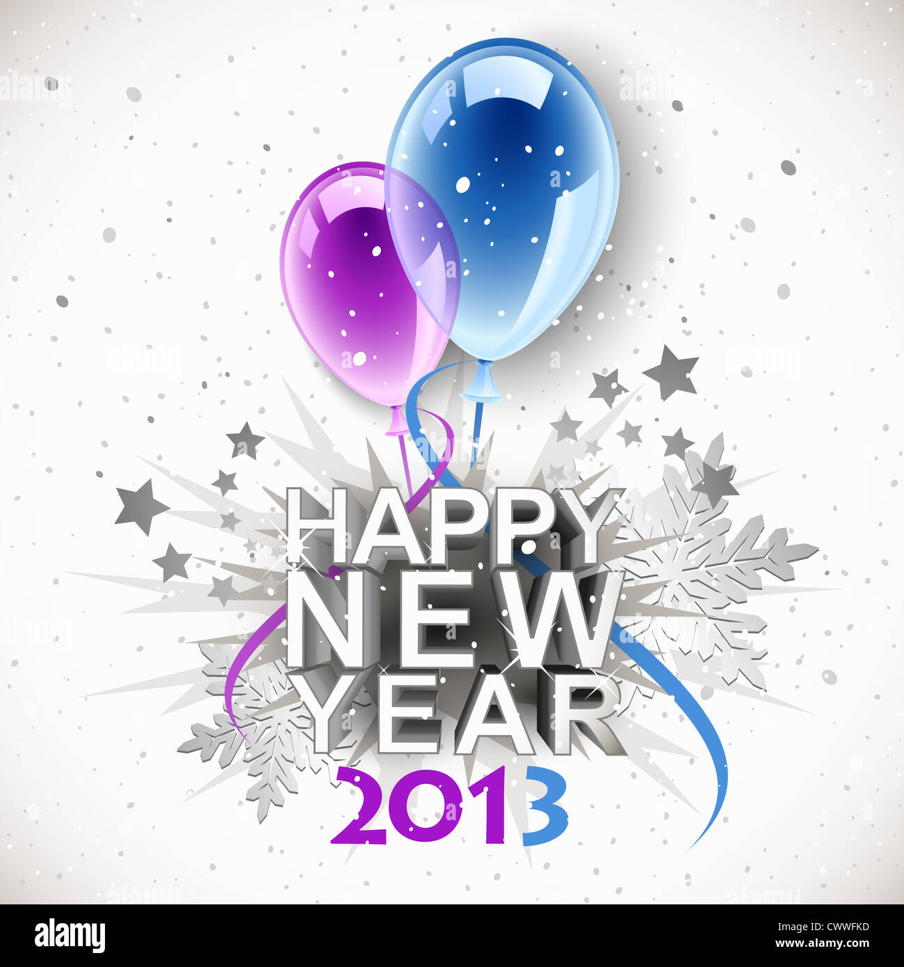 Vintage New Year 2013 with balloons - Stock Image