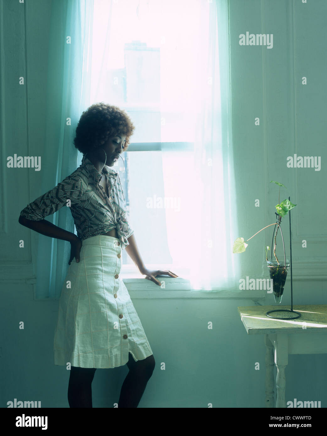 1970s style Black American woman with short red hued afro in window - Stock Image