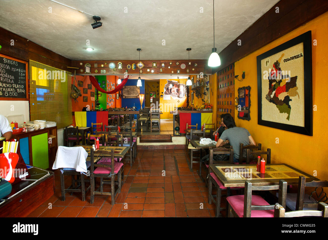 inside of a small cafeteria in bogota colombia south america stock