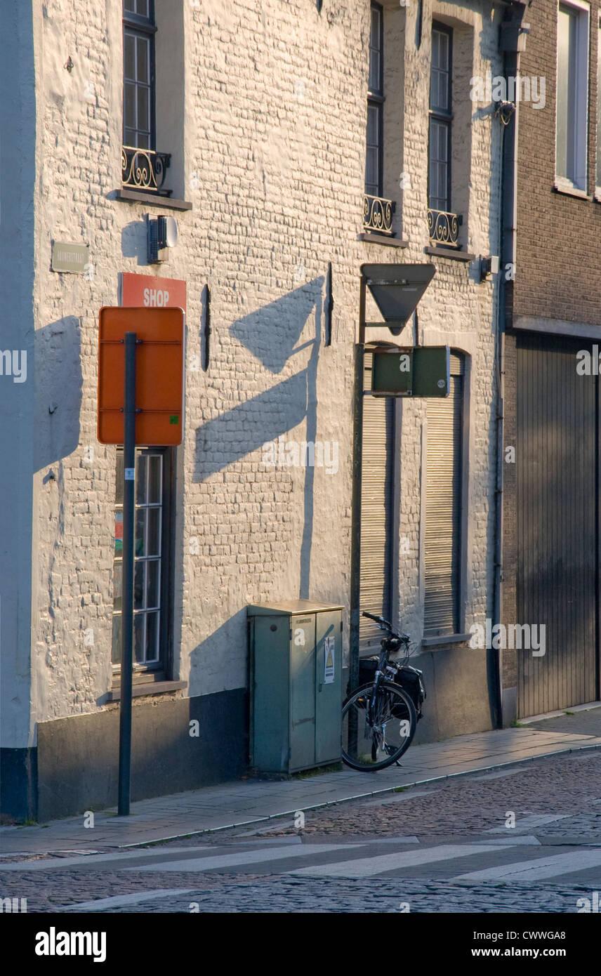Side street in Bruges Belgium Stock Photo