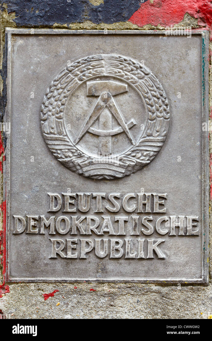 DDR sign in Berlin on Berlin wall - Stock Image