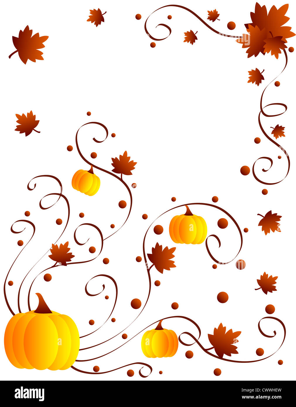 Autumn leaves and pumpkins frame Stock Photo