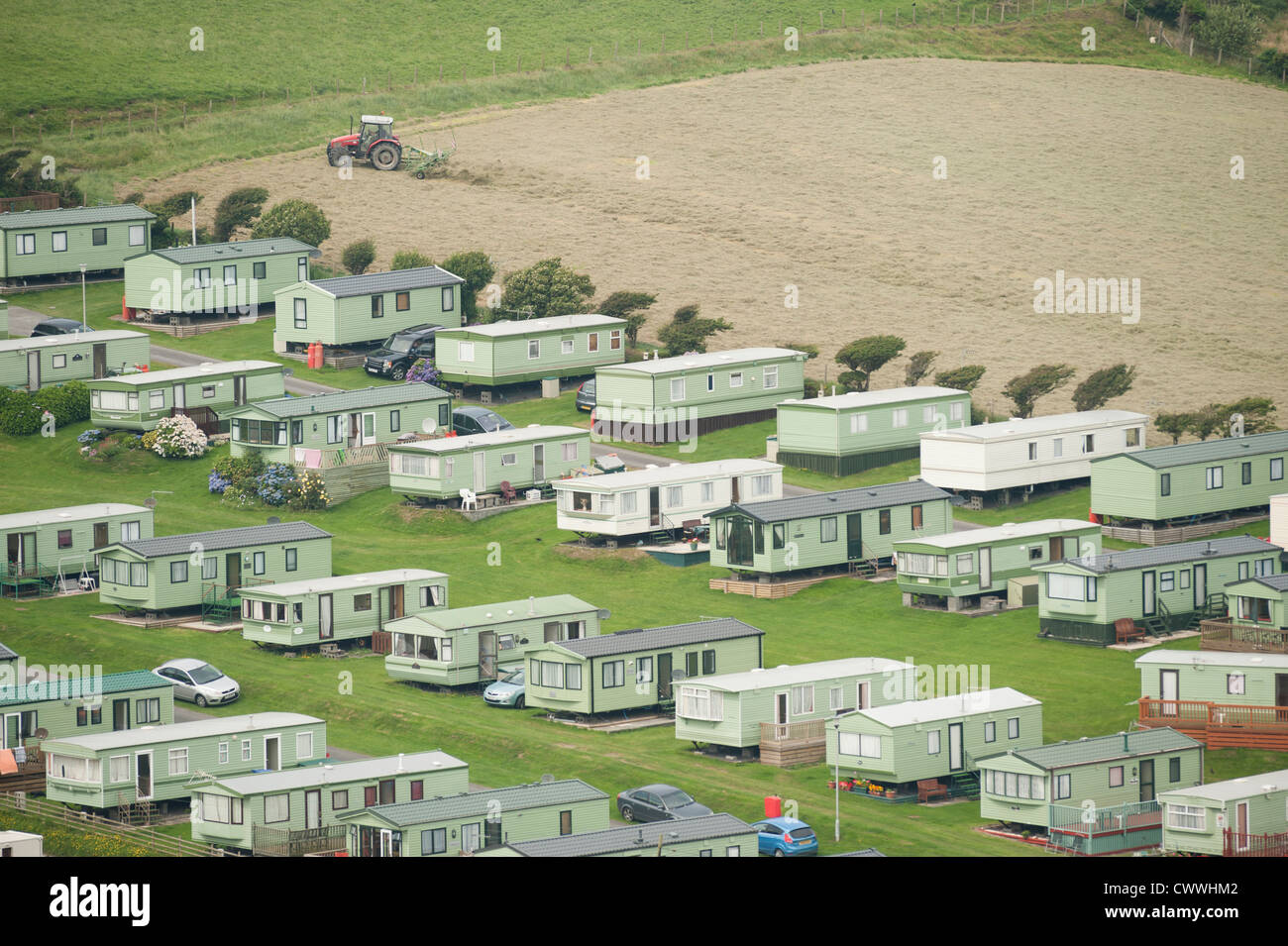 static and Mobile homes caravan site, Borth west wales UK - Stock Image
