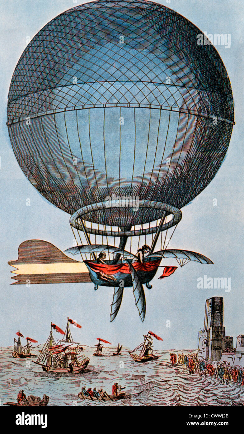 Blanchard and Jeffries Crossing the English Channel by Balloon, 1785, Illustration - Stock Image