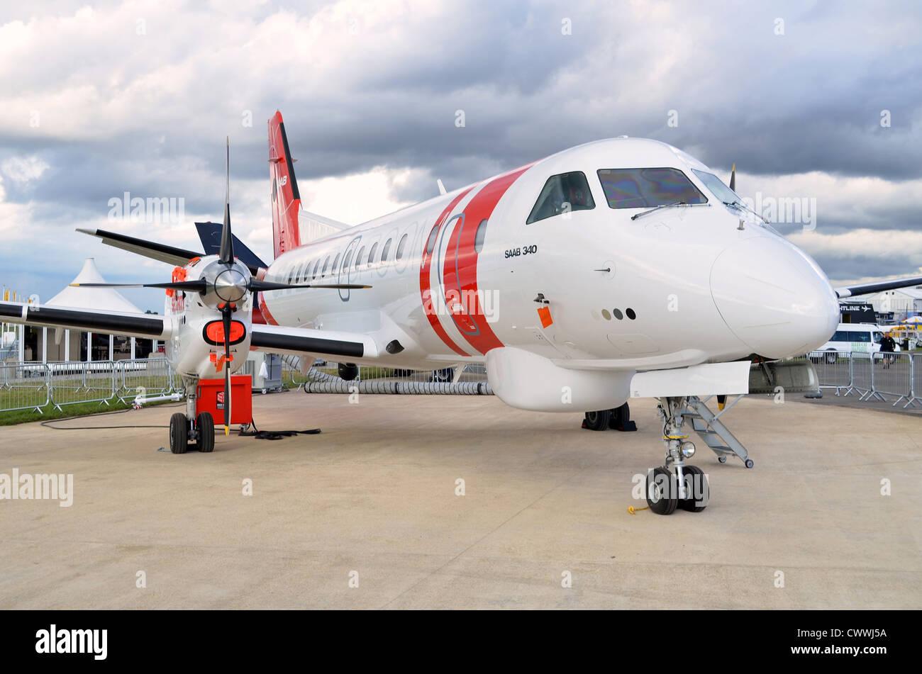 SAAB 340B/Plus maritime patrol aircraft on display at Farnborough International Airshow 2012 - Stock Image
