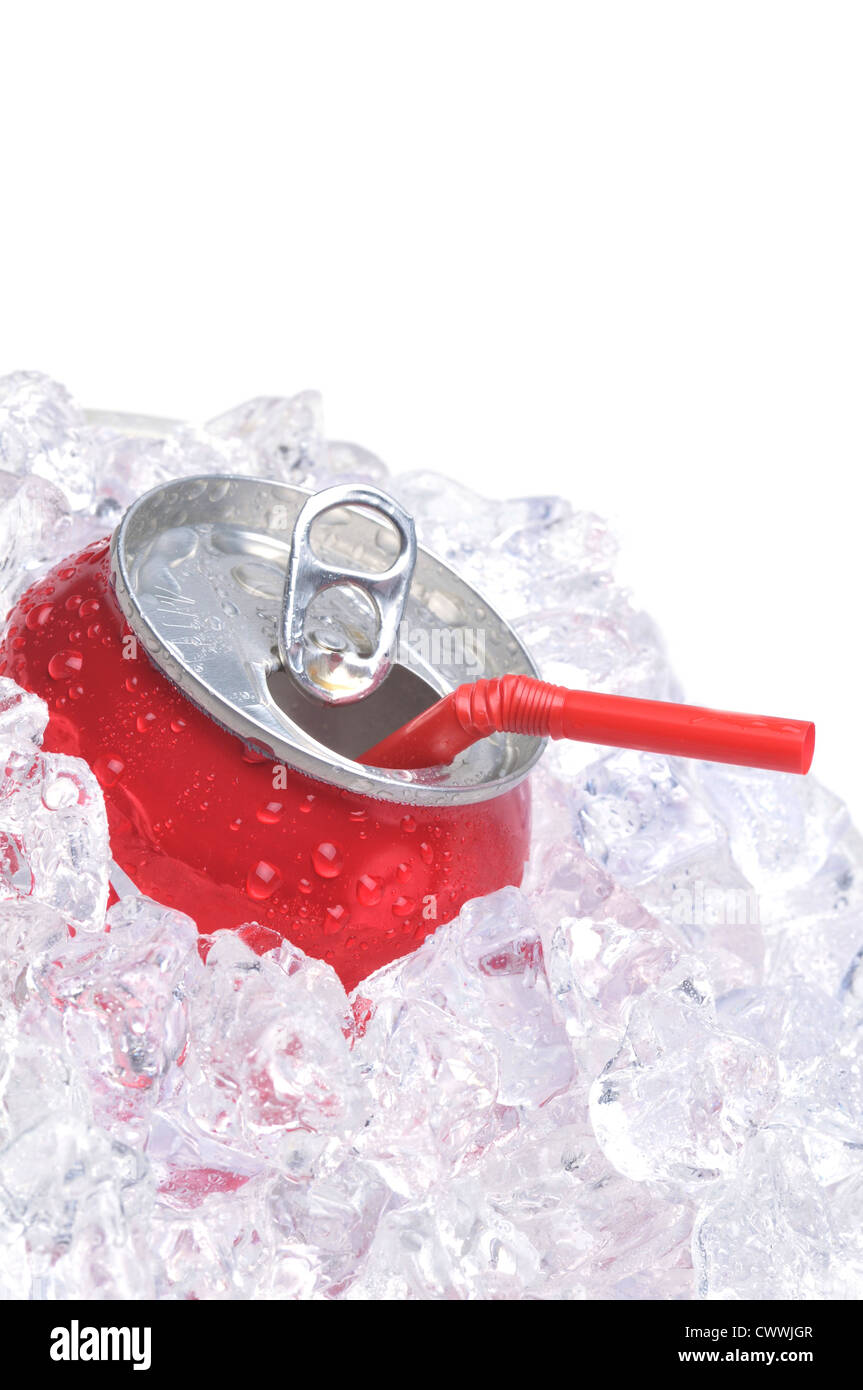 Close Up of Red Soda Can in Ice with Drinking Straw isolated on white - Stock Image