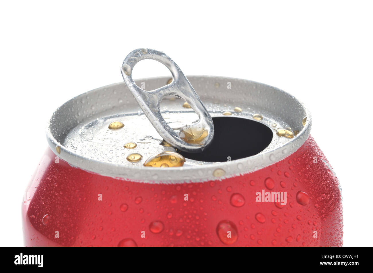Close Up of a Red Soda Can with Pull Tab open with condensation - Stock Image