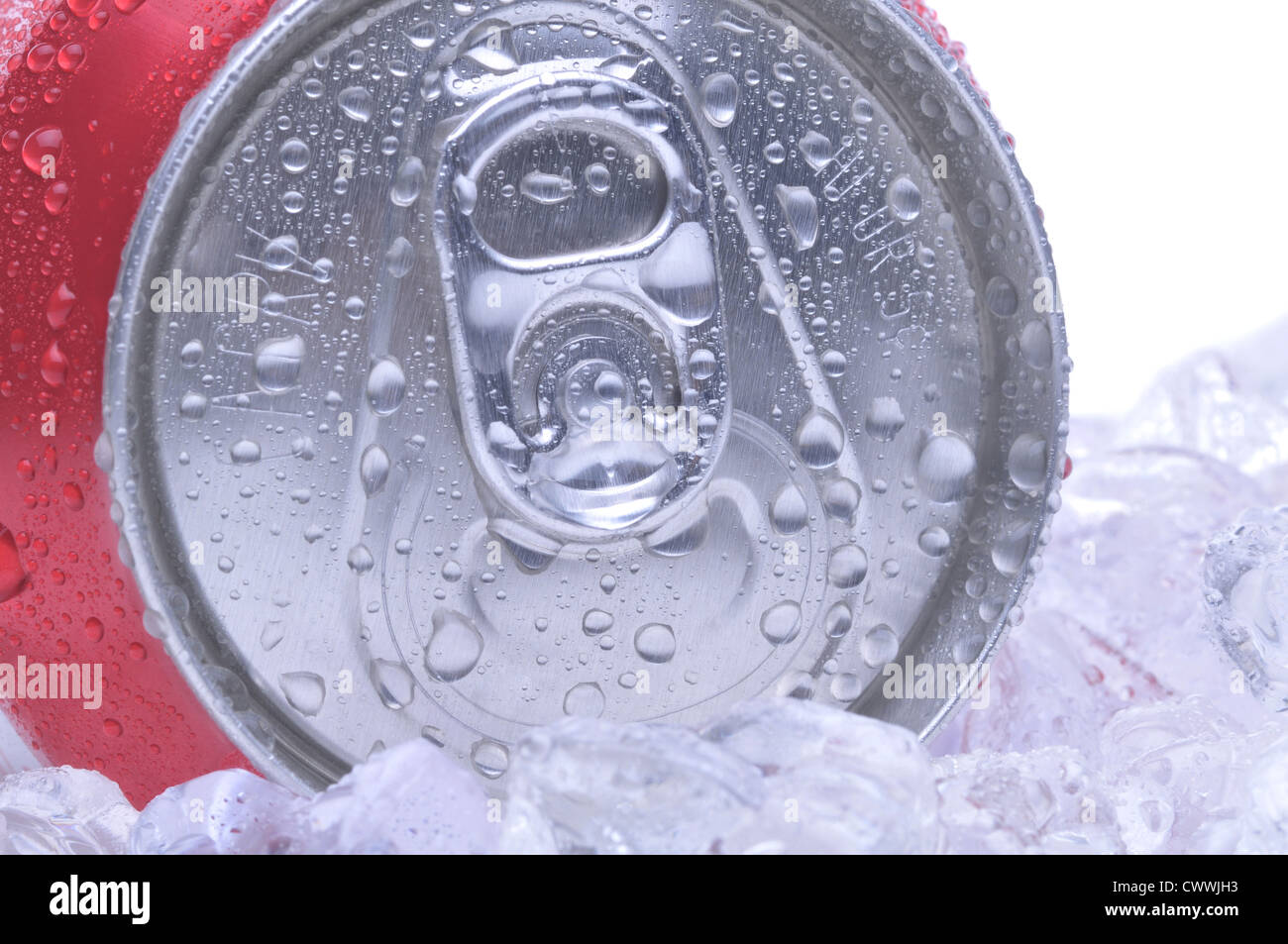 Close Up of a Red Soda Can Top with Ice and Condensation white background copyspace - Stock Image