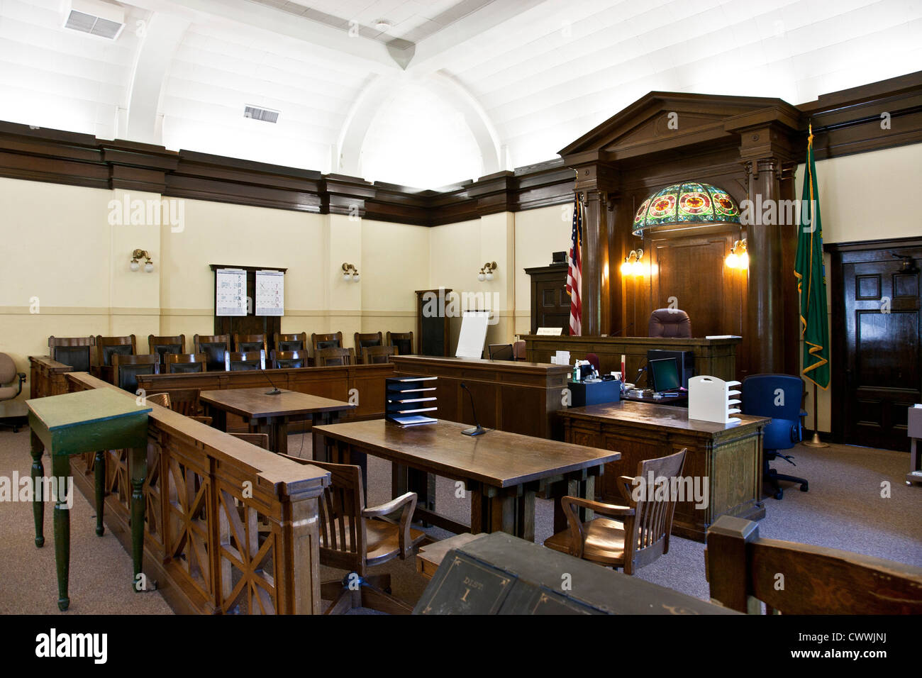 Old Courtroom With Wood Paneled Jury Box Amp Judge S Bench